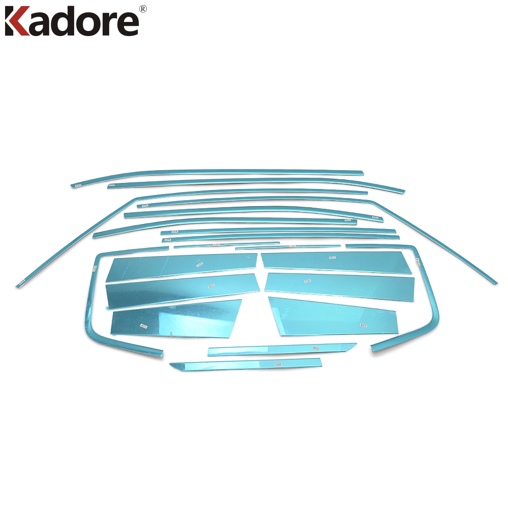 For Jeep Renegade 2016 2017 Stainless Steel Car Full Window Cover Trims Styling Whole Window Sills Protector Auto Parts 20Pcs for jac refine s5 mk1 mk2 2013 2014 2015 2016 stainless steel car styling auto full window cover trim garnish strips 20pcs set