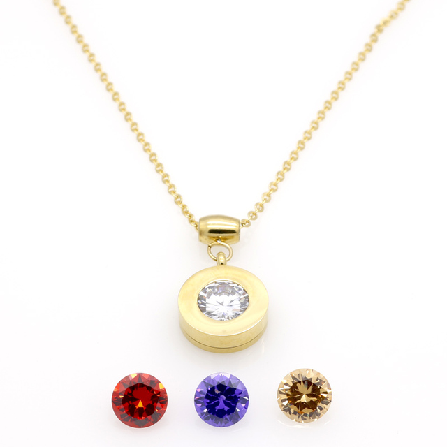 Wholesale Trendy Brand Stainless Steel Fashion Necklaces Luxury 4 Colors Removable Stone Pendant Necklace For Women