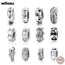 WOSTU Stopper Spacer Beads 100% 925 Sterling Silver Cat Feather Round Charm Fit Original Bracelet Bangle DIY Jewelry Accessories