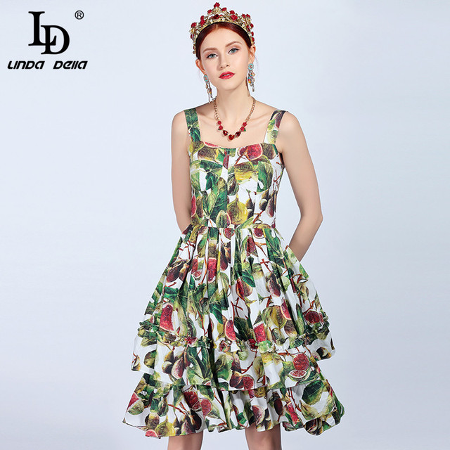 592167ae4ac05 US $63.99 |LD LINDA DELLA 2018 Summer Fashion Runway Cotton Dress Women's  Spaghetti Strap Ruffles fruit Fig Printed Elegant Dress vestido-in Dresses  ...