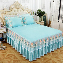 free shipping princess skirted bed sheet 3pcs soft lace bedspreads folding mat quality cover multi-colors machine wash