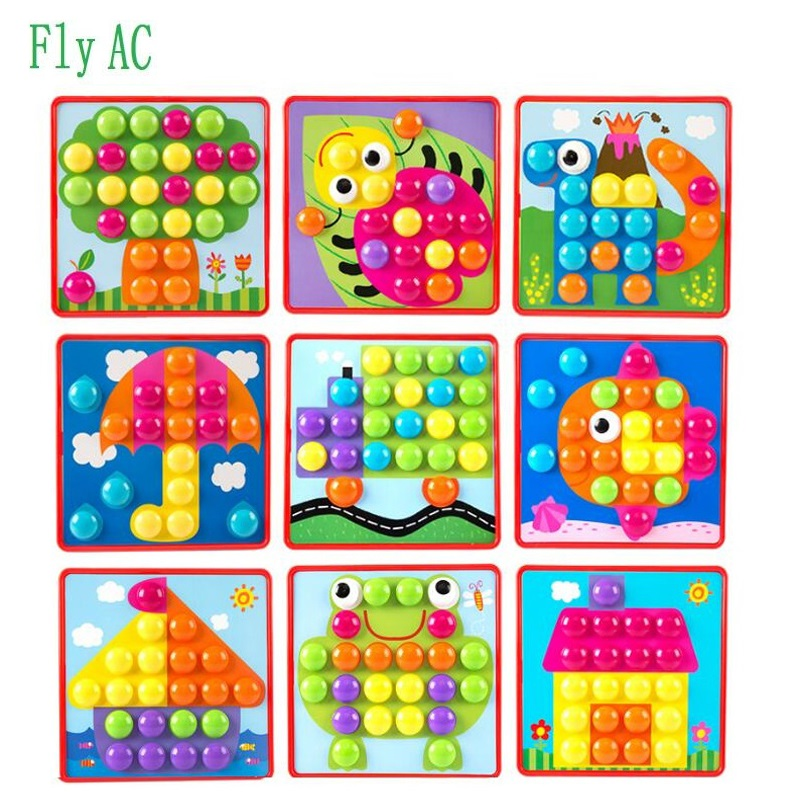 3D Puzzles Toys For Children Composite Picture Puzzle Creative Mosaic Mushroom Nail Kit Educational Toys for children gift led 3d puzzle toys l503h empire state building models cubicfun diy puzzle 3d toy models handmade paper puzzles for children