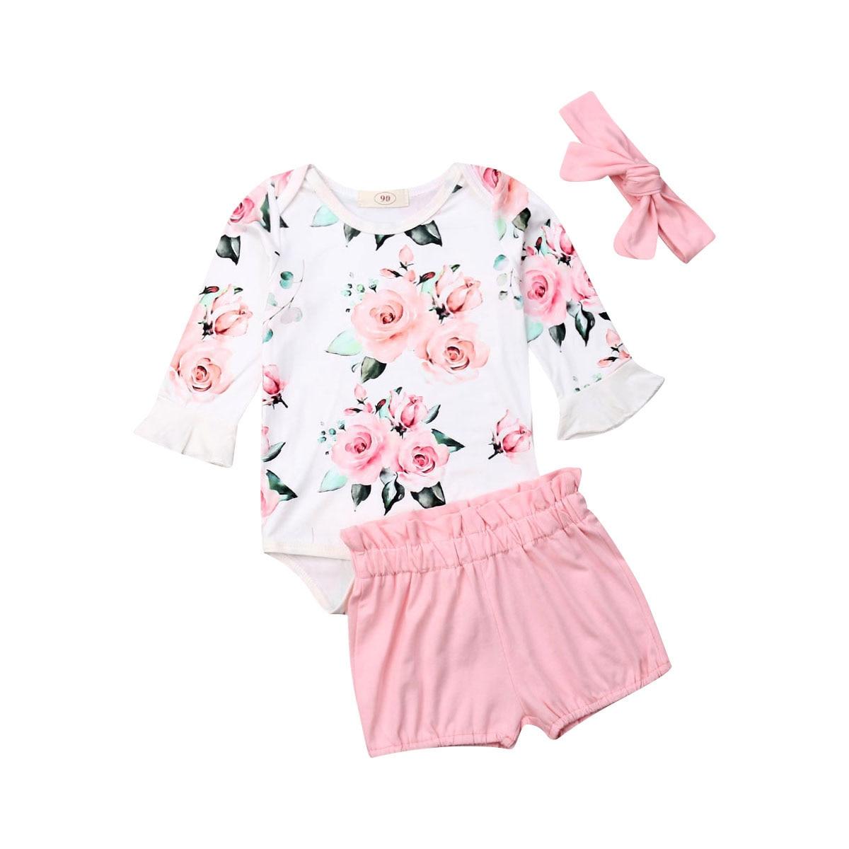 0-24M New Infant Kids Baby Girls Clothes Sets 3pcs Flowers Print Ruffles Long Sleeve Romper Tops+Pink Shorts+Headband