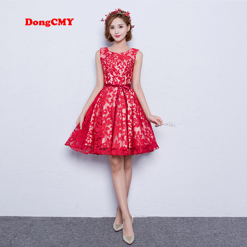 DongCMY 2019 new fashion V-Neck short party   prom     dress