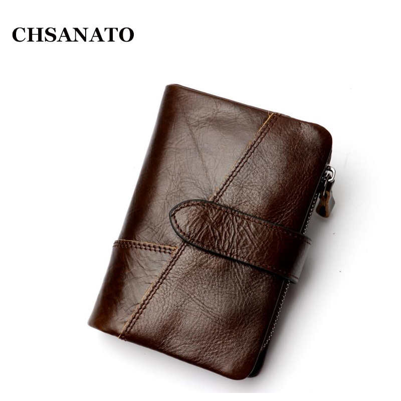 CHSANATO 2018 Men Wallet Genuine Leather RFID Crazy Horse Cowhide Leather Short Male Clutch Coin Purse Card Holder Wallets crazy horse leather billfolds wallet card holder leather card case for men 8056r 1