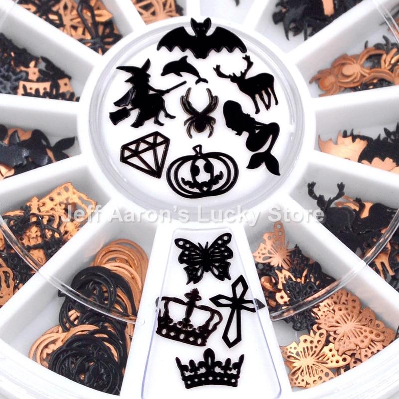 12 Shapes 3D Metal Halloween Nail Art Decoration Slice