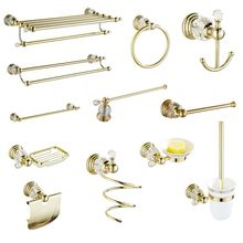 Bathroom Hardware Sets Soap Dish Solid Brass Toilet Brush Holer Gold Polished Towel Rack Crystal Bathroom Products Wall Mounted european style luxury bathroom ceramic soap dish solid copper crystal soap dish rack bathroom hardware accessories