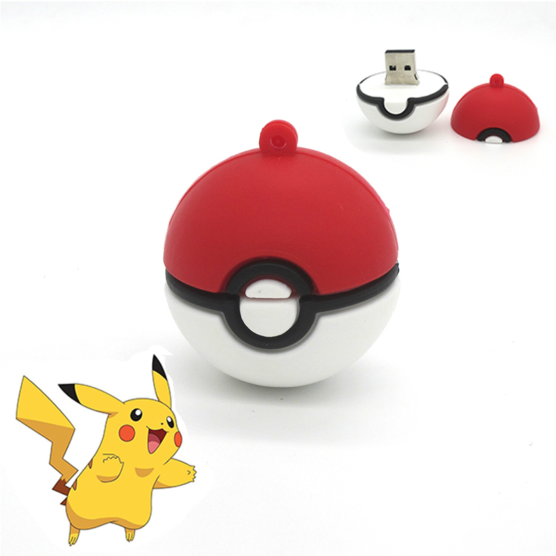 Cartoon Poke Ball Usb Flash Drive Cute Pokemon Model Pocket Monster Pen Drive U Disk Memory Stick Hot Gift 64GB 32GB 16GB 8GB