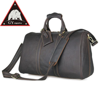 ANAPH Brand Top Grade Vintage Full Grain Leather Luggage Bag Men Business Travel Bags For 17