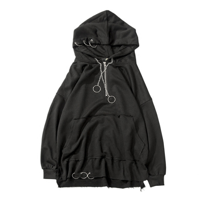 2017 Spring Fashion Korean Metal Ring Plain Black Hoodies Men ...