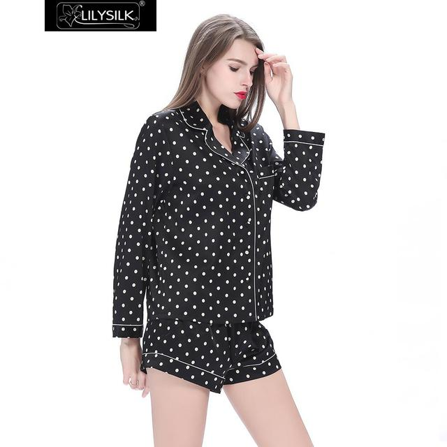 Lilysilk Pyjamas Women Silk Pure 19 momme Black Polka Dot Long Sleeve  Blouse Shirt With Shorts 477897e6c