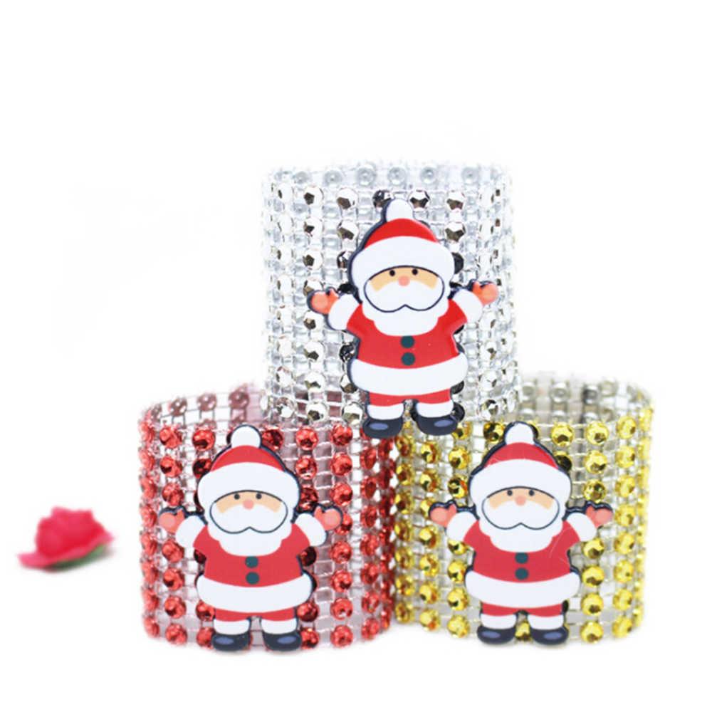6 шт./лот Diamond Санта Клаус кольца для салфеток Рождество украшение стола свадебные салфетки держатели горный хрусталь для стула, банкетки ужин