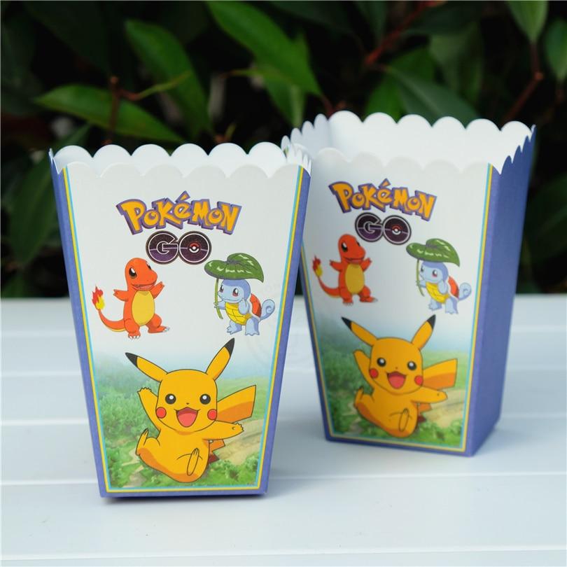6pcs/lot Pokemon Go Pikachu Cartoon Popcorn Box case Gift Box Favor Accessory kids Birthday Party Supplies