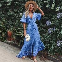 Jastie Vintage Print Maxi Dress Waist tie Ruffle Hem Boho Dresses Women Beach Long Dresses V Neck Short Sleeve Summer Dress 2019
