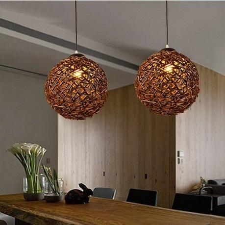 retro loft estilo redondo de madera tejidas a mano droplight led lmparas colgantes para comedor lmpara