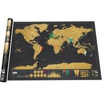 Miễn phí Vận Chuyển World Du Lịch Scratch Off Map Đen Khỏi Bị Trầy Xước Bản Đồ Tường Poster Món Quà Sáng Tạo cho Du Khách