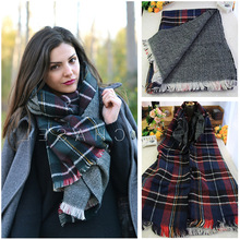 2015 Winter Tartan Scarf Desigual Plaid Scarf cuadros New Designer Unisex Acrylic Basic Shawls Women's big size Scarves
