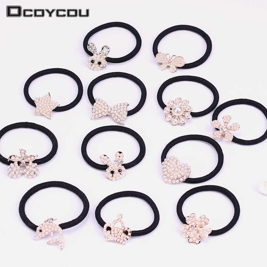 1PC Fashion Pearl Crystal Headbands Ponytail Hair Ring Women Rhinestones Elastic Hair Rope Hairband Girls Hair Accessories