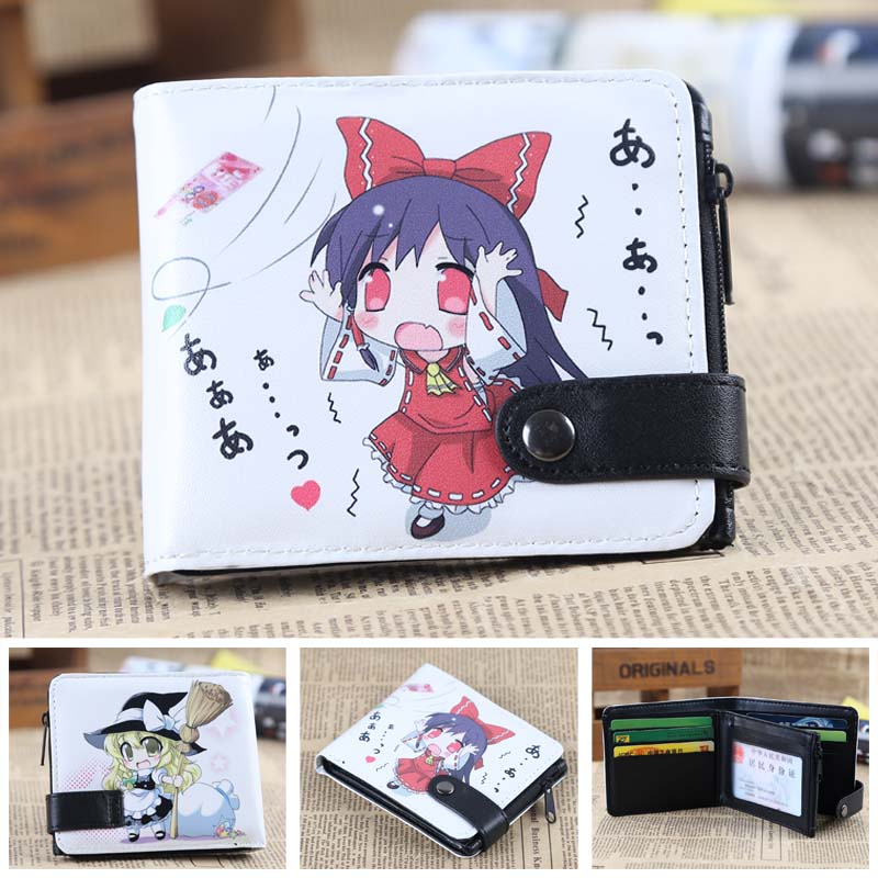 Anime TouHou Project Reimu & Marisa PU Short Zero Wallet/Coin Purse/Multilayer Double-button Wallet