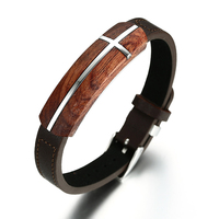 Mens Genuine Leather Bracelet Bangles In Brown Rosewood Cross Inlay Tag Adjustable Wristband Stainless Steel Buckle