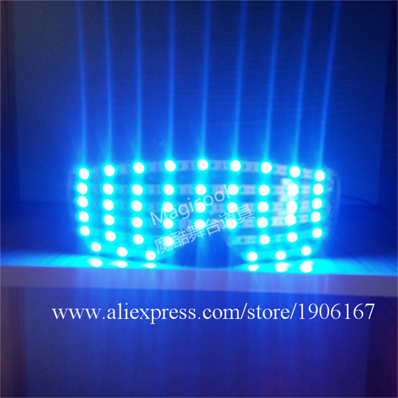 Blue Led Colorful Luminous Party glasses LED Growing Lighting Up Halloween Christmas Funny DJ Singer Glasses For Stage Show