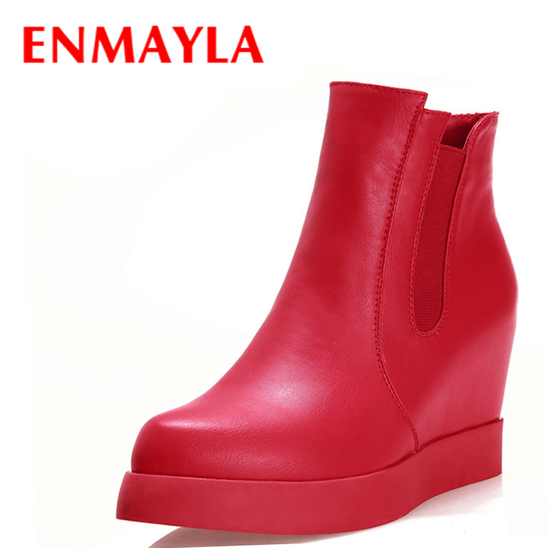 ENMAYLA Pointed Toe White Shoes Woman High Heels Wedges Ankle Boots for Women Winter Chelsea Boots Platform Short Shoes Size 43 enmayer bling platform shoes woman round toe ankle boots for women high heels zippers white shoes plus size 34 47 winter boots