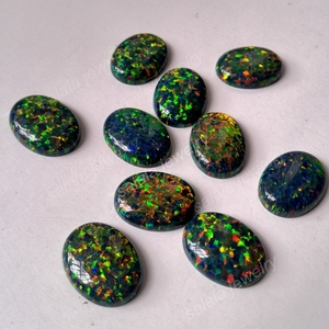 Image 2 - 20 pz/lotto 13x18mm op32 sintetico Nero Opale di Fuoco Ovale Cabochon Opal Pietra per Gioielli FAI DA TE