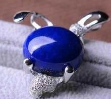 Natural blue lapis lazuli  pendant S925 silver Natural Gemstone Pendant Necklace elegant Lovely rabbit  women Child fine jewelry