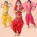 Niños Niñas Infantil Traje de la Danza Del Vientre Bellydance Moneda Bollywood Indio Trajes de Danza Del Vientre 4 unids Establece Egipcio Egipto