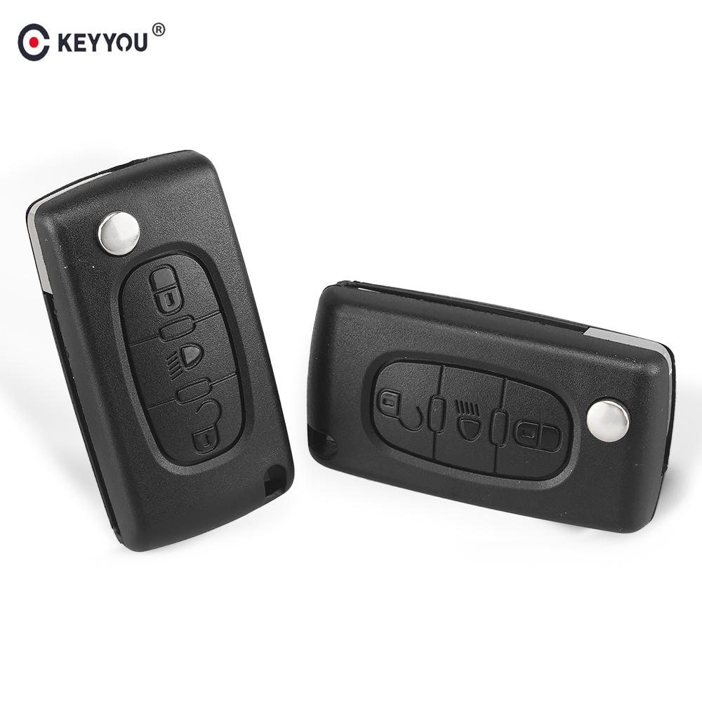 KEYYOU FOR Citroen C4 Picasso C5 C6 3 BUTTONS KEY FOB REMOTE CASE Light Symbol With Badge CE0536 Free Shipping 2pcs for bandy c4 orange c4 blue remote duplicator free shipping