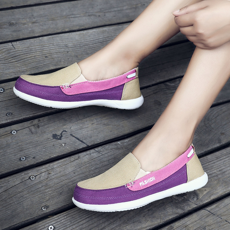 MIUBU 2019 Autumn Women Canvas Shoes Woman Slip on Loafers Shoes Women Flats Tennis Shoes Ladies Breathable Flat Boat Shoes in Women 39 s Flats from Shoes