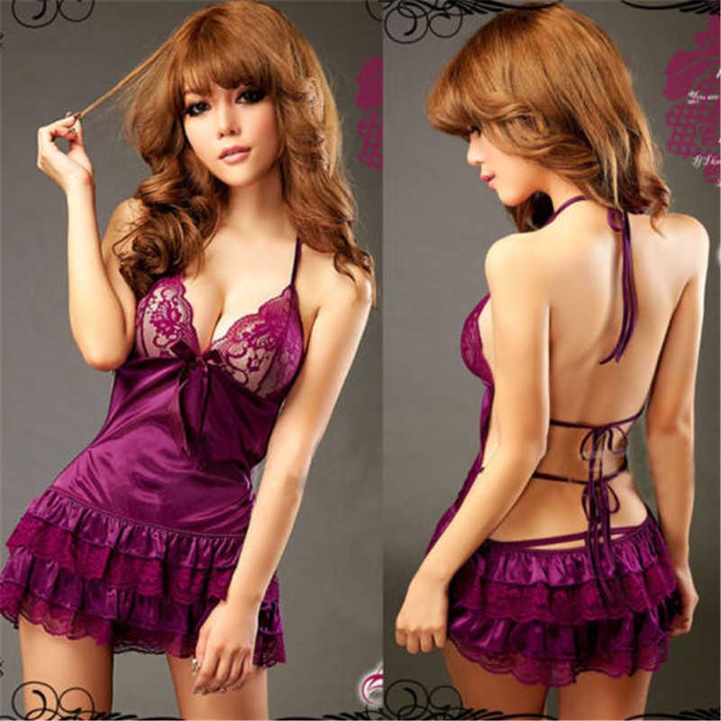 Sommer Spitze Nachthemd Frauen Sexy Backless Dessous Camisola Nachtwäsche Mit G-string Tiefem V-ausschnitt Nachthemd Schwarz Lila Vestidos