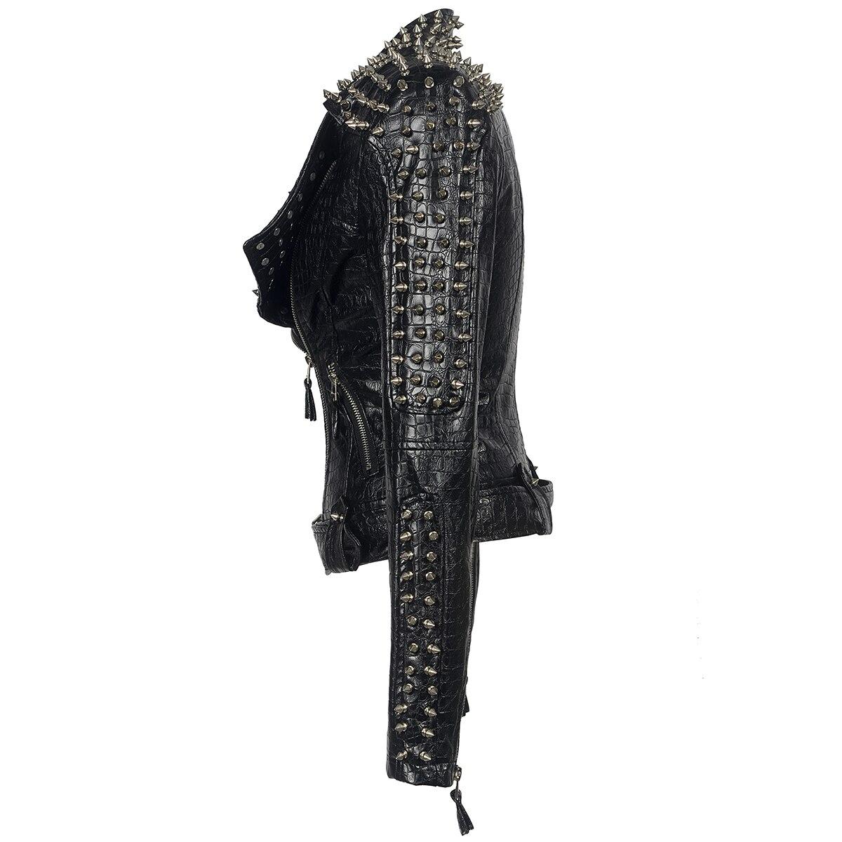Outono quente grosso longo casaco de couro preto mulheres nova reversão delgados blusão de couro PU Parka chamariz a Mujahir WZ791 - 4