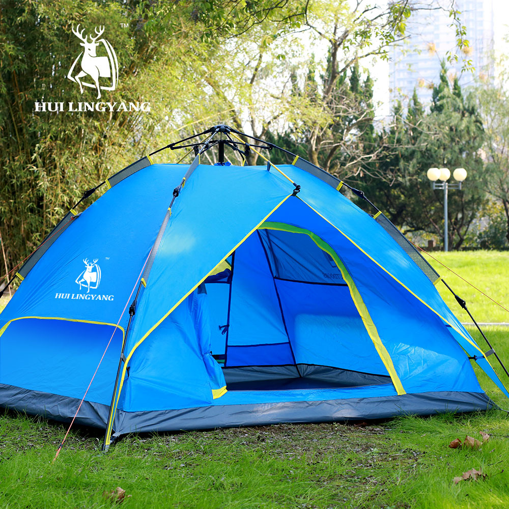 Camping Tent 3 4 Person Hydraulic Waterproof Double Layer Outdoor