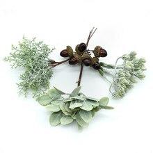 6 adet DIY scrapbooking noel çelenk yapay bitkiler ponpon yapay çiçekler ev dekor için el yapımı sahte yeşil bitkiler