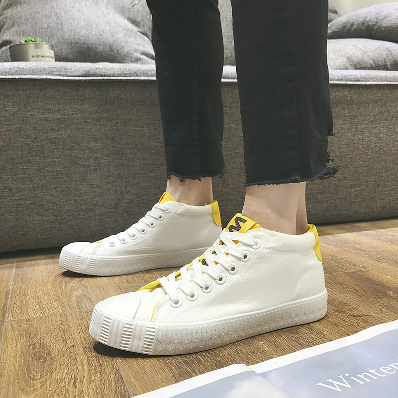 Klasik Asli Pria Kanvas Sepatu Skateboard Tinggi dengan Huruf Logo Sneakers  Bernapas Sepatu Olahraga Sepatu non slip Datar di Sepatu skateboard dari ... b11b03751f