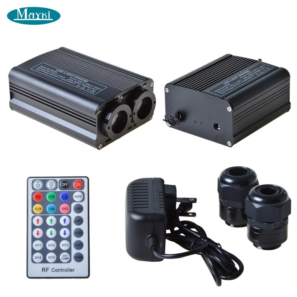 Maykit Factory DMX Color Changing Fiber Optic Light Engine Dual Ports 32W RGBW LED Light Emitter