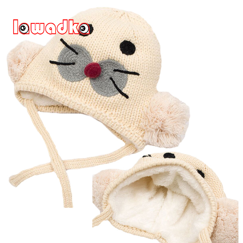 Lawadka Winter Warm Baby Hat Protection Ear Baby Caps Seal Design Baby Girls Velvet Boys Hats Beanies Accessories