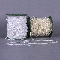 Un Rollo de 50 Metros de Longitud 3 MM de Color Beige Blanco Carrete de la Cuerda de Perlas Artificiales Bolas Garland Centro de Mesa Del Banquete de Boda En Casa decoración