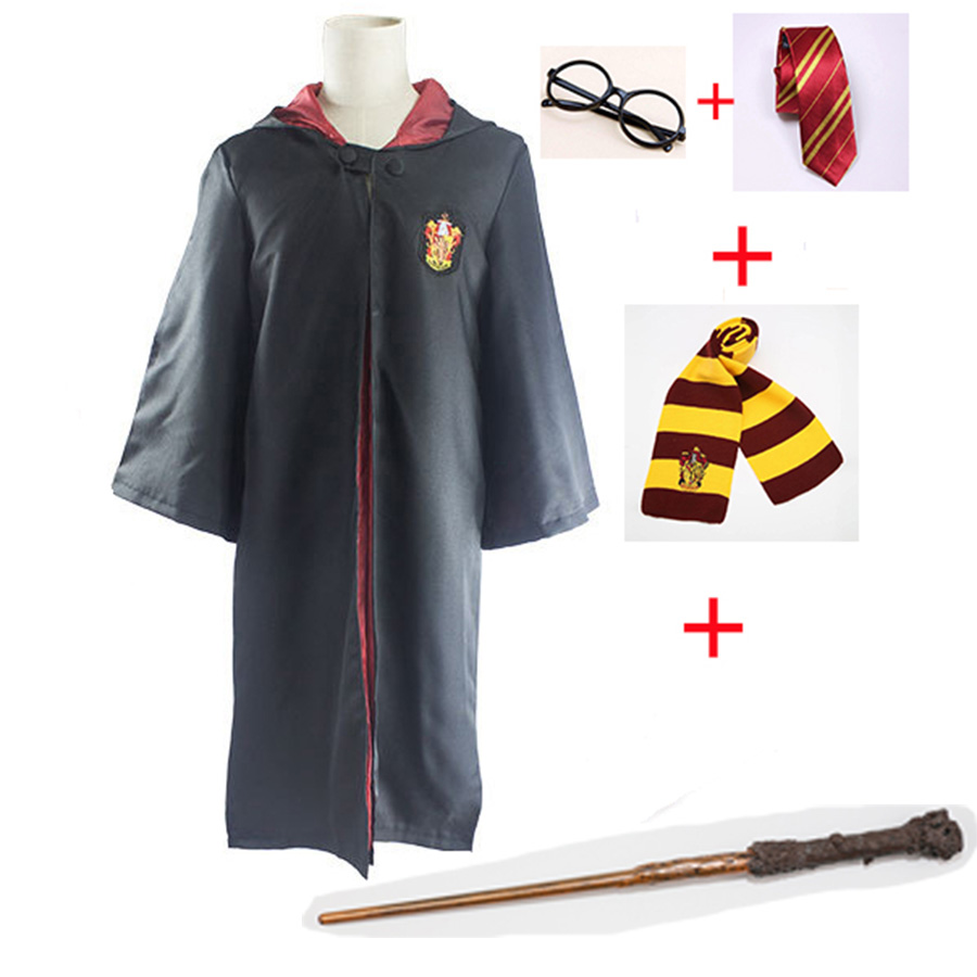 Harri Potter Cosplay Costumes Robe Cape Cloak with Tie Scarf Wand Glasses Ravenclaw Gryffindor Hufflepuff Slytherin Hermione