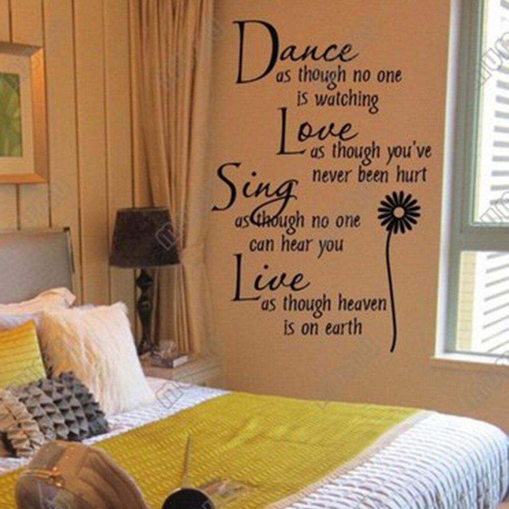 Kreative Mode Englisch Text Dance Liebe Singen Kunst Wandaufkleber Dekoration Kinder Wohnzimmer SchlafzimmerChina