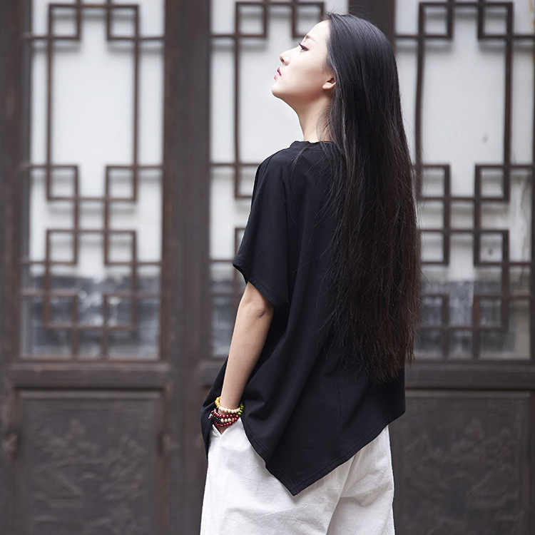 Colore Solido estate Plus Size T Shirt Allentato Manica Corta Casual T Shirt Cotone Delle Donne irregolare Donna top