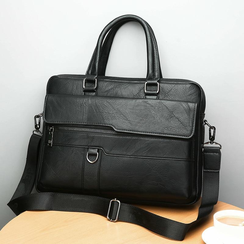 HTB1UEs6bwFY.1VjSZFnq6AFHXXaI New Men Briefcase Bags Business Leather Bag Shoulder Messenger Bags Work Handbag 14 Inch Laptop Bag Bolso Hombre Bolsa Masculina