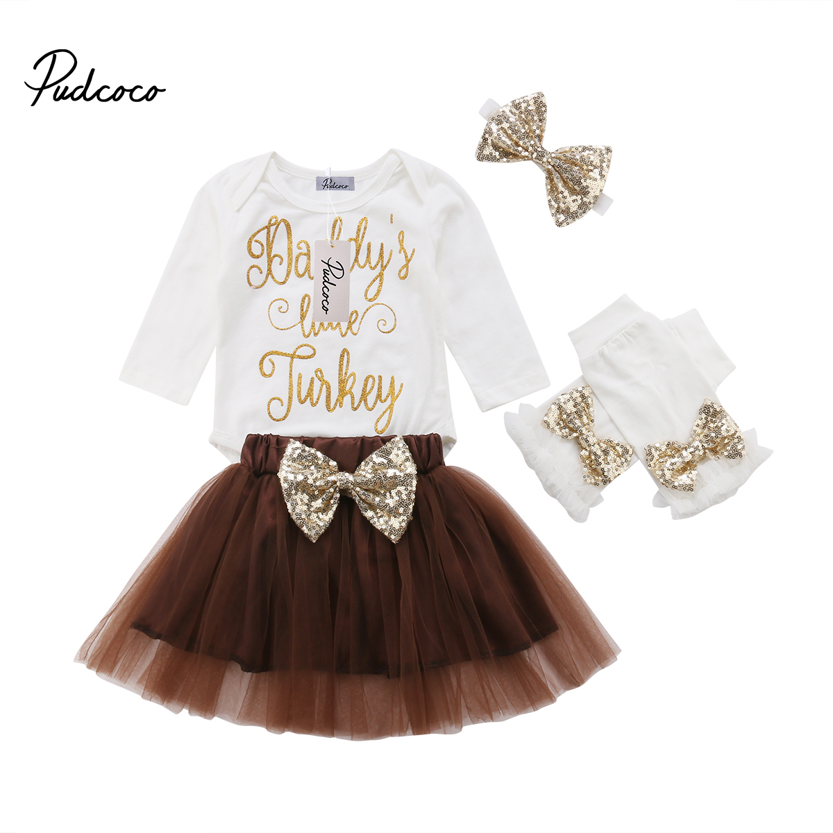Infant Baby Girls Thanksgiving Outfit Newborn Romper Tops + Tutu Skirt + Leg Warmers Headband 4PCS Set 2016 baby girls summer clothing sets baby girl romper suits romper tutu skirt headband infant newborn baby clothes baby romper