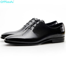 Genuine Cow Leather Men Luxury Dress Shoes Patent Oxfords Black Lace-up Fashion Square Toe Wedding