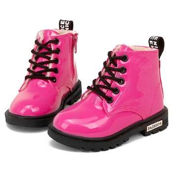 Enfants Martin bottes PU cuir imperméable moto bottes hiver enfants neige bottes marque filles princesse chaussures en caoutchouc bottes
