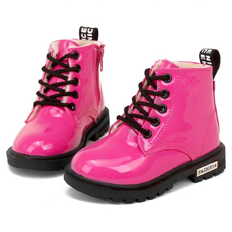 Anne ve Çocuk'ten Botlar'de Çocuk Martin çizmeler PU deri su geçirmez motosiklet botları kış çocuk kar botları marka kız prenses ayakkabı lastik çizmeler title=