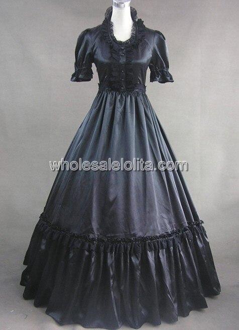 Черный Готический Викторианской Dress С Кружевом Украшения Dress