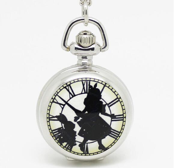 Fashion Silver Enamel Mirror Black In Wonderland Roman Clock Girl Alice Pocket Watch Necklace Hour Clock Wholesale Antibrittle