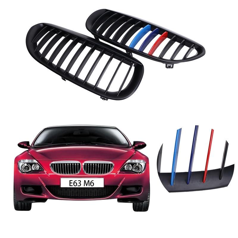 Матовый черный м-Цвет передняя почек решетка Гриль для BMW E63 и e64 Кабриолет M6 купе 645i 650i по автомобилей 2004-2010 решетки ##